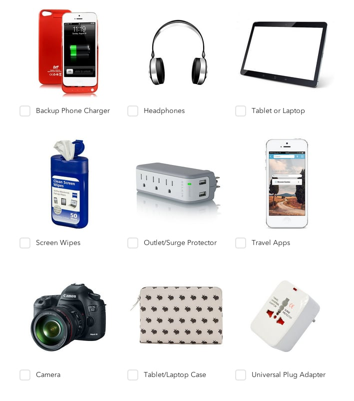 Use a tech travel checklist to pack.