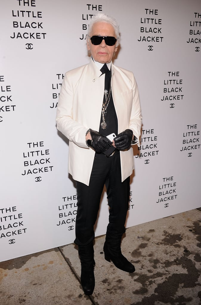 Karl Lagerfeld styled up his signature sleek suiting with his go-to edgy accents.