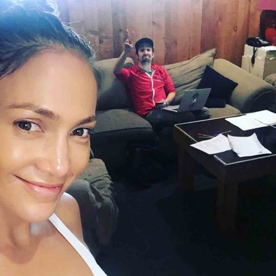 Jennifer Lopez No-Makeup Selfie With Lin-Manuel Miranda