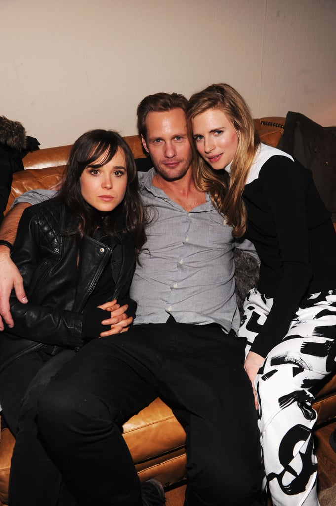Ellen Page, Alexander Skarsgard, and Brit Marling cuddled up at The East afterparty at Sundance.