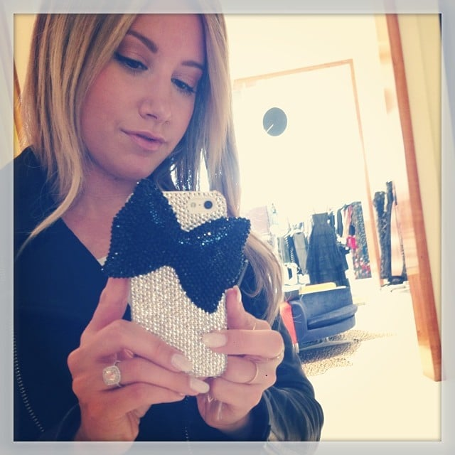 Ashley Tisdale showed off her snazzy new Alice + Olivia cell phone case. Source: Instagram user ashleytis
