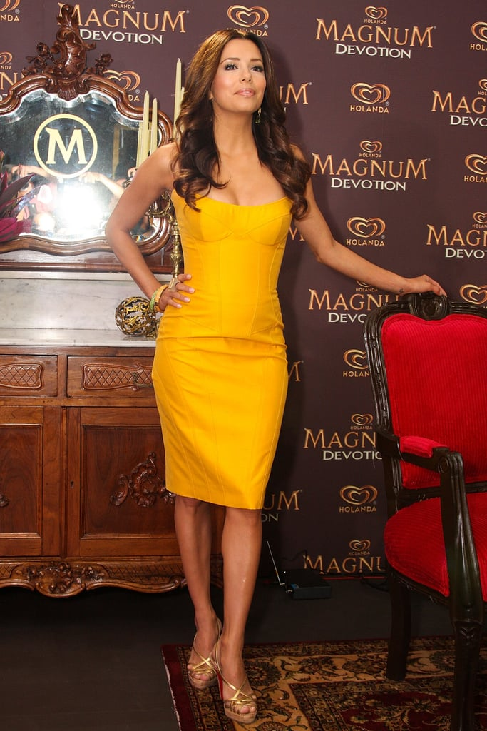 While promoting the delicious — seriously, have you tried it? — Magnum Devotion ice cream in Mexico, the star posed in a strapless marigold dress and metallic cork sandals.