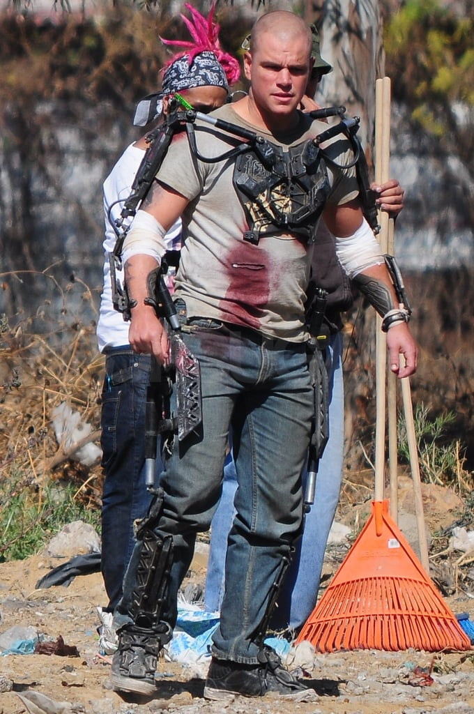 Matt Damon looked bloodied and bruised on set.