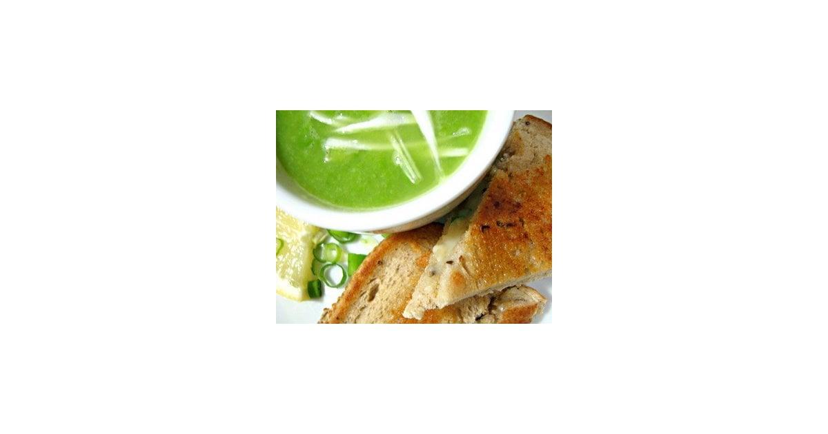 Green-Pea Soup With Cheddar-Scallion Panini Recipe — Dishmaps