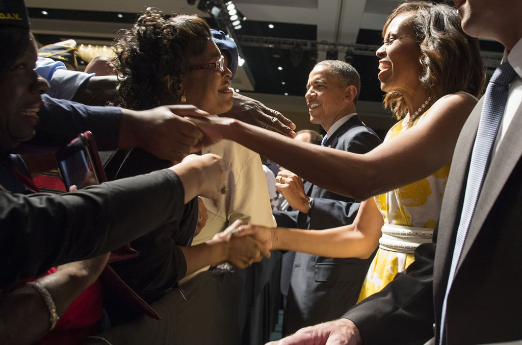 Michelle and Barack worked the crowd in Florida.