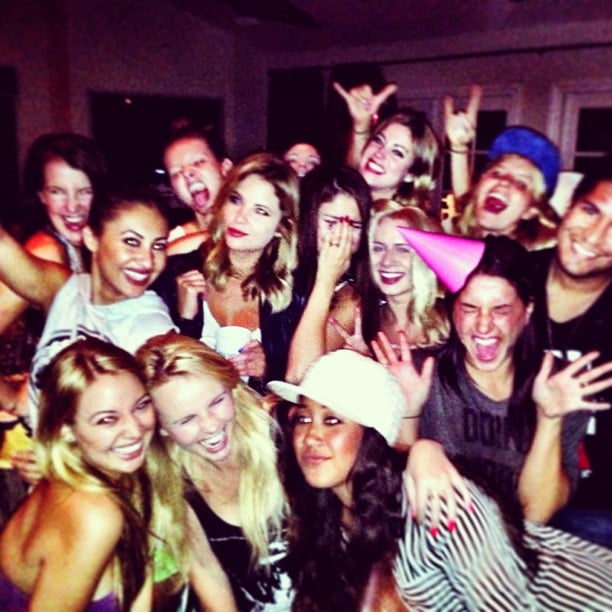 "Selena Gomez shared a photo of her friends partying while she recorded a video for her song ""Birthday"" on her new album. Source: Instagram user selenagomez"