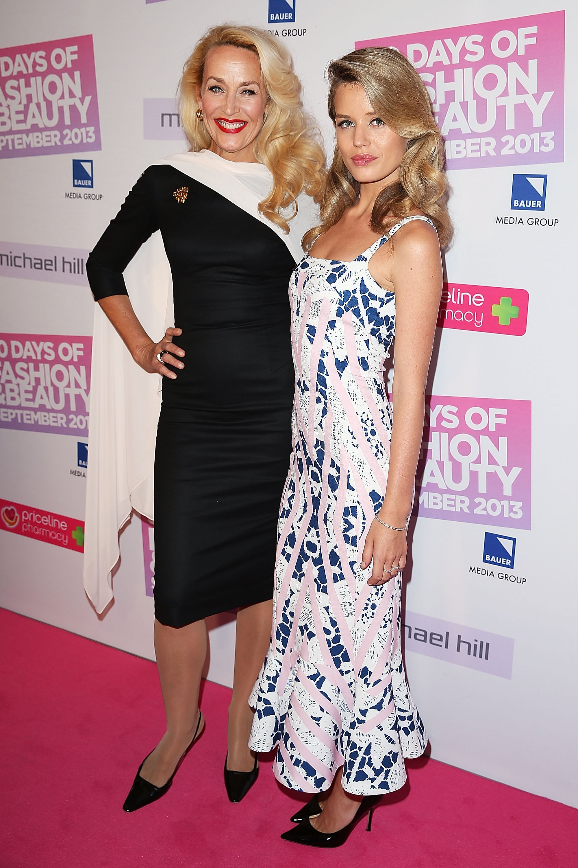 Jerry Hall joined a femininely dressed Georgia May Jagger at the Sydney 30 Days of Fashion and Beauty launch event.
