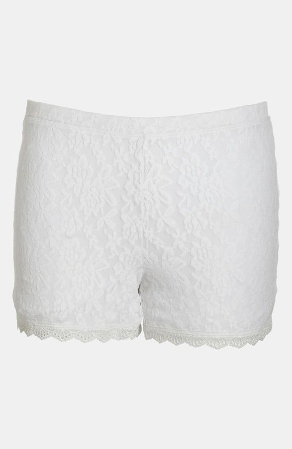 These Tildon white lace shorts ($29) are not for the fashion shy — but they would look amazing with a simple gray tank and a denim vest.