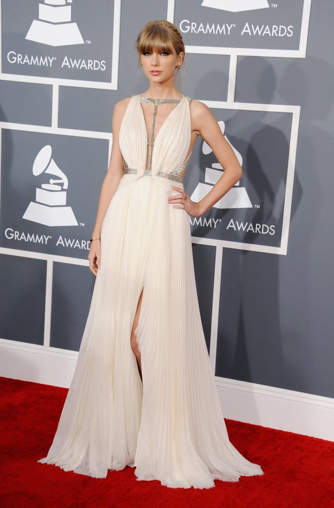 Taylor Swift wore a white grecian gown.