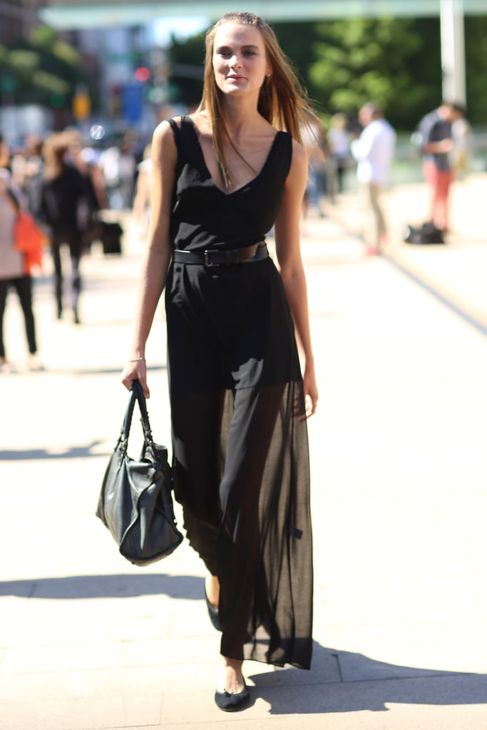 All black, but in the breeziest fabrics, felt light and easy — and grounded with ballet flats. Source: Greg Kessler