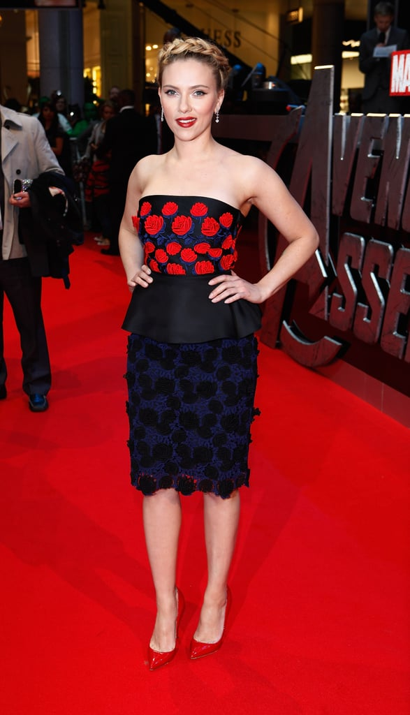 Scarlett Johansson was in London for the premiere of The Avengers.