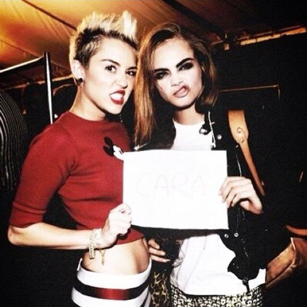 Miley Cyrus hung out with Cara Delevingne backstage at Marc Jacobs's Fall '13 runway show. Source: Instagram user caradelevingne