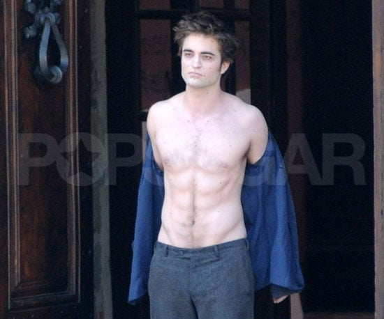 Slide Photo of Shirtless Robert Pattinson On the Set of New Moon in Italy