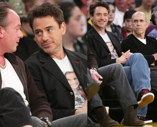 Photos of Robert Downey Jr., John Stamos, Denzel Washington, Adam Levine at Lakers Game in LA