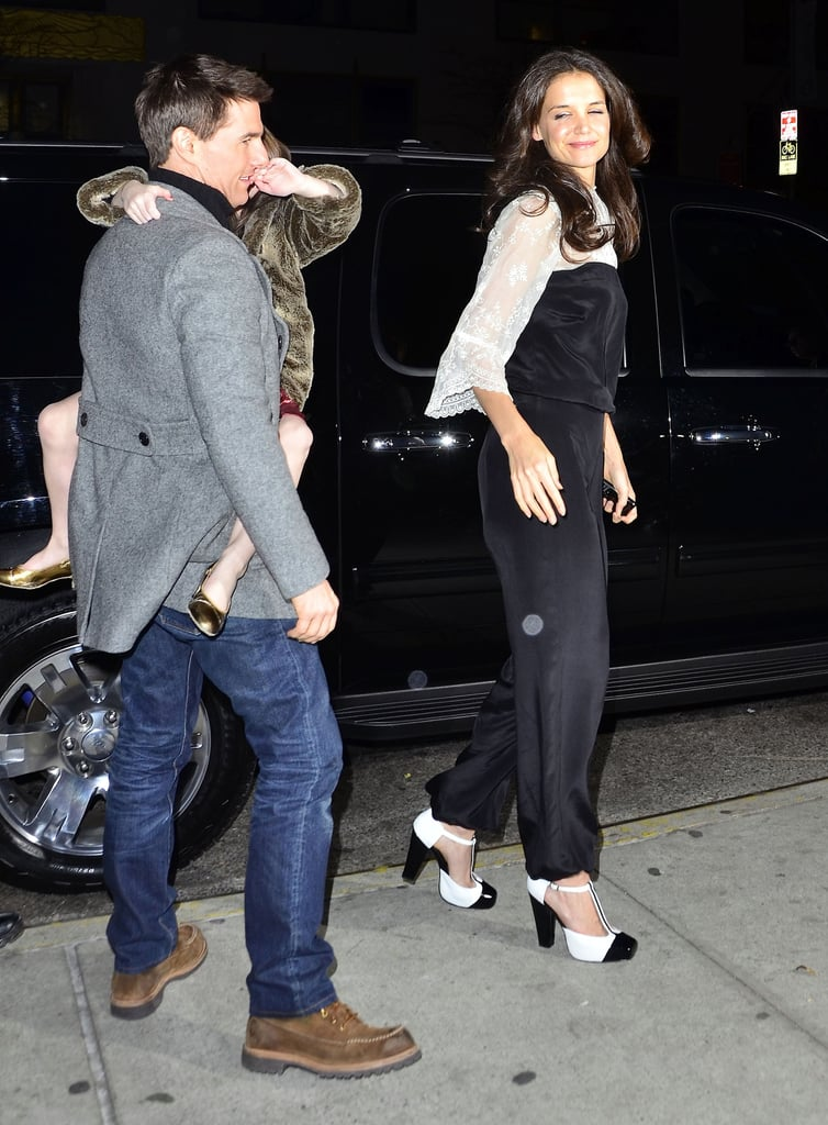 Suri and Tom Cruise took Katie Holmes out to dinner for her 33rd birthday.