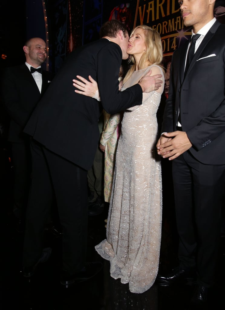 William gave friend Ellie Goulding a kiss when he greeted her at the Royal Variety Performance in London in November 2014.