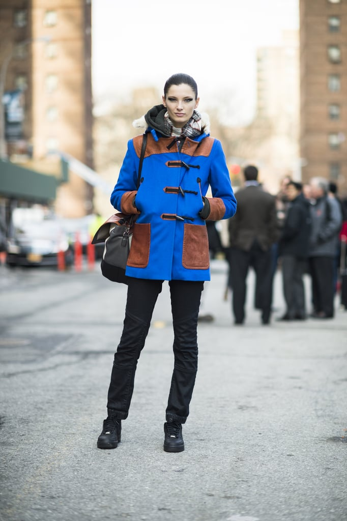 Bold, blue outerwear was the center of attention in this look. Source: Le 21ème   Adam Katz Sinding