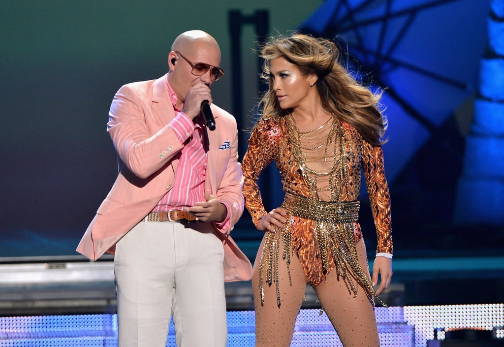Jennifer Lopez and Pitbull performed together at the Premios Juventud event in Miami on Thursday.