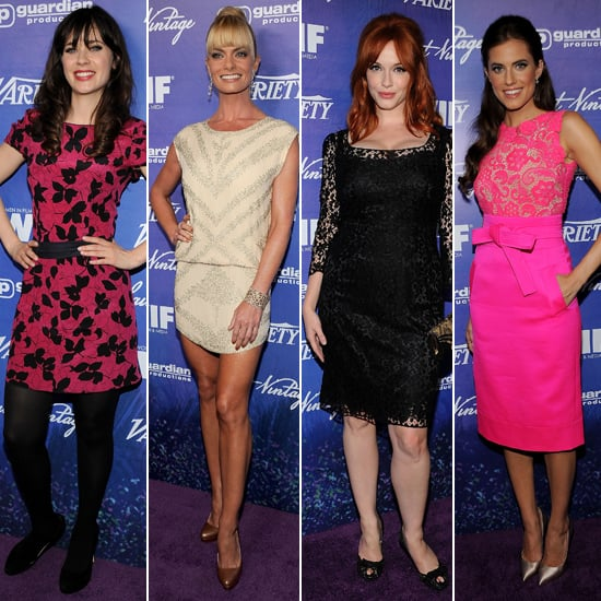 Christina Hendricks, Zooey Deschanel & Allison Williams Glam Up For Pre-Emmy Party