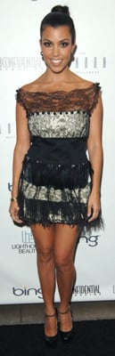 Kourtney Kardashian Wears Black Lace Dress to LA Confidential Party