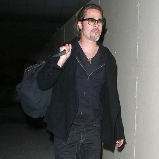 Brad Pitt Wearing All Black at LAX | Pictures