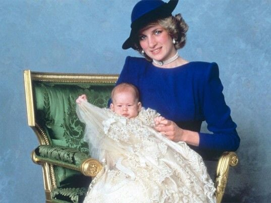 This portrait of Prince Harry and Princess Diana, from his christening, featured the blue studio background many of us recall from our school pictures.  Source: Photo courtesy of The British Monarchy