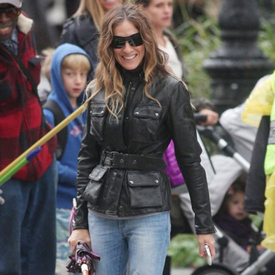 Sarah Jessica Parker Wearing Belted Leather Jacket