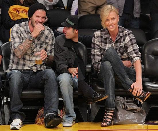 David Beckham and Charlize Theron Wear Plaid and Dark Denim at LA Lakers Game 2010-04-21 15:00:22