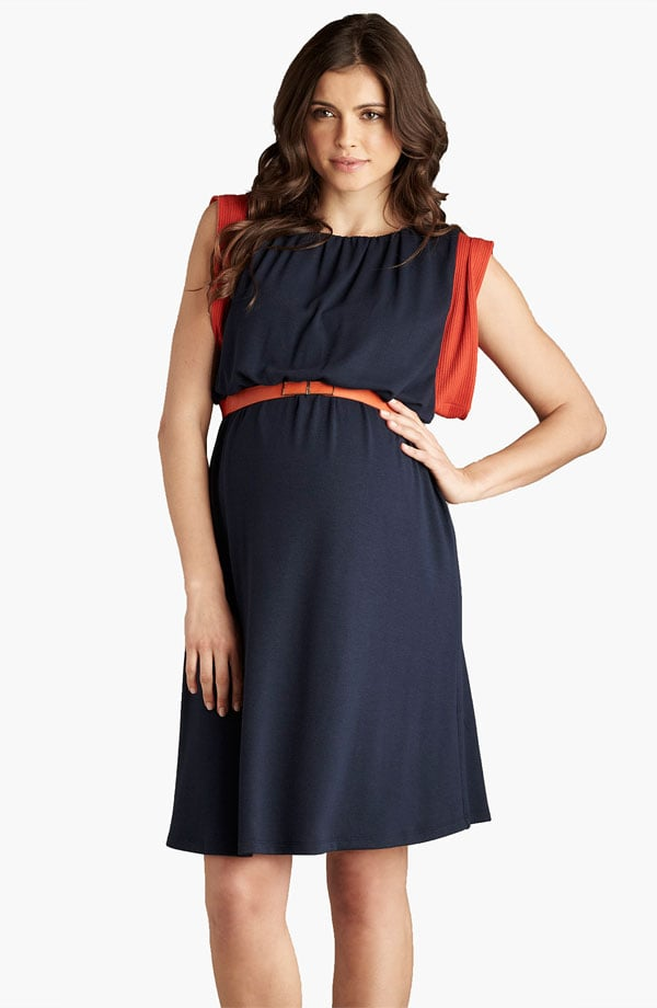 Thanks to Eastern-inspired kimono sleeves and a bold navy-and-orange color palette, Maternal America's Belted Knit Dress ($148) fits in with Fall's most trendy pieces.