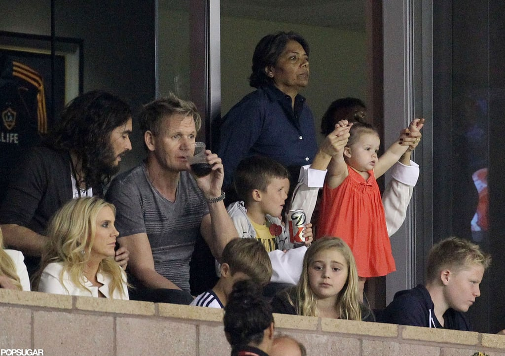 Victoria Beckham was with daughter Harper and sons Romeo, Cruz, and Brooklyn to watch David Beckham and the LA Galaxy in LA.
