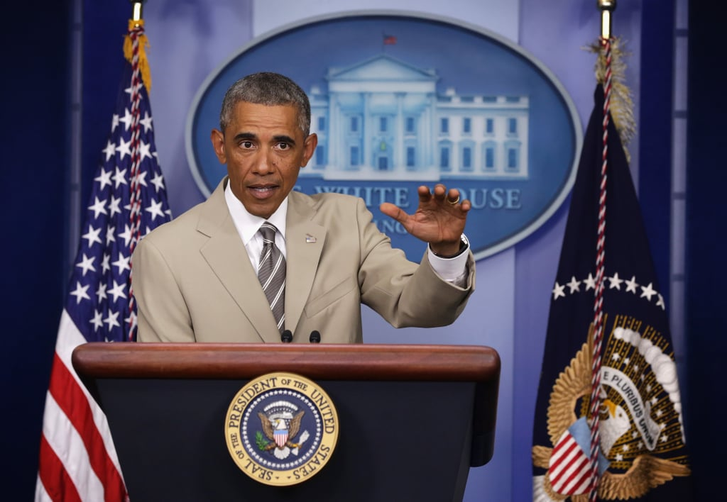 President Obama spoke about serious matters on Thursday, but the only thing people were talking about was his tan suit.