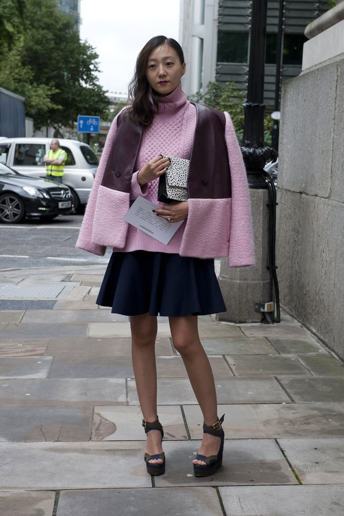 This street styler reflects the runway shade of Spring'14: pale pink.