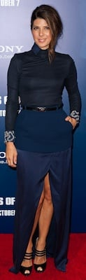 Marisa Tomei in Blue Preen Skirt and Silk Top