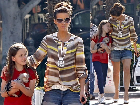 Photos of Kate Beckinsale, Star of Everybody's Fine, With Daughter Lily Sheen and a Pet at Fred Segal