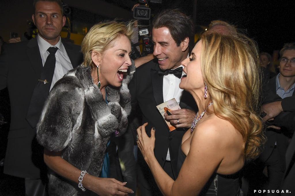 Sharon Stone laughed with John Travolta and Kelly Preston.