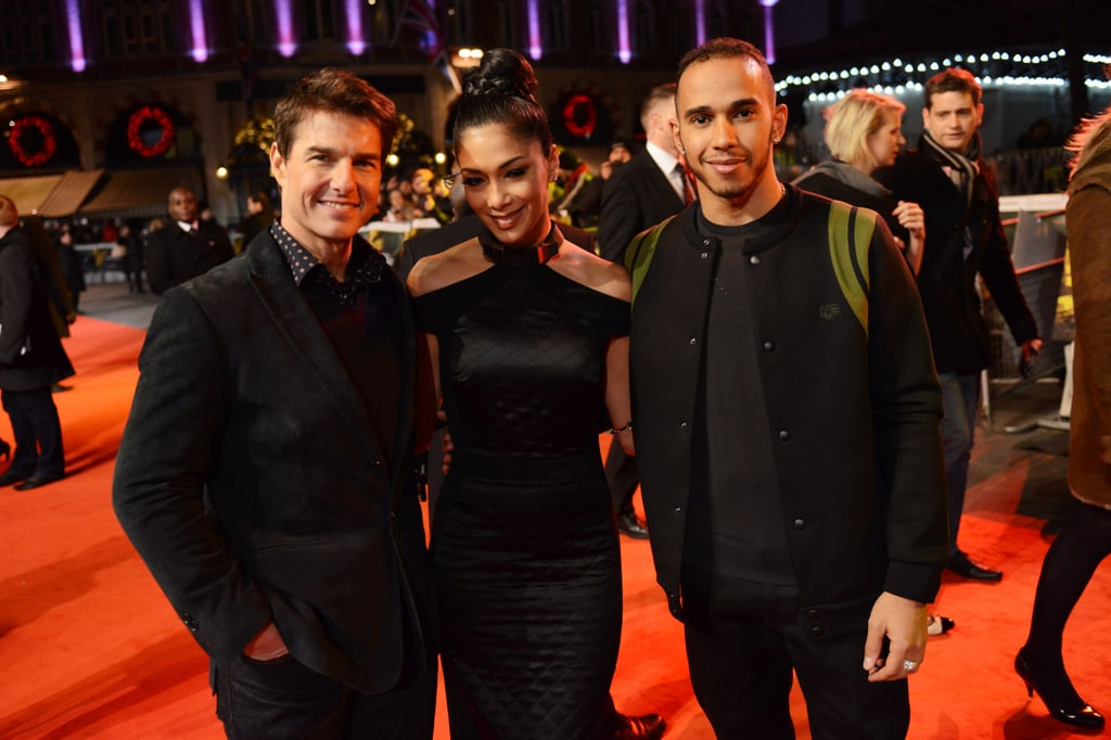 Tom Cruise posed with Nicole Scherzinger and Lewis Hamilton at the London premiere of Jack Reacher.