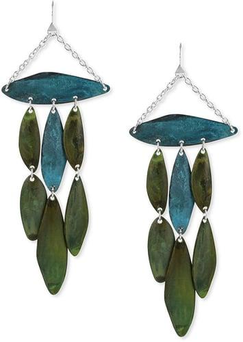Robert Lee Morris Earrings, Silver-Tone Blue and Green Patina Petal Chandelier Earrings