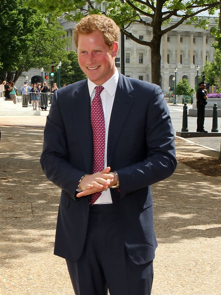 On Thursday, Prince Harry was all smiles when he arrived in Washington DC.