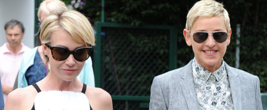 Ellen DeGeneres and Portia de Rossi Arrive at Wimbledon Hand-in-Hand