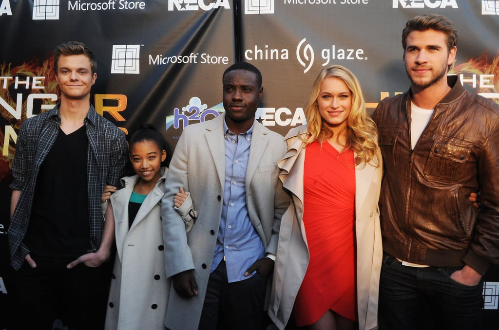 Liam Hemsworth and his fellow Tributes, Jack Quaid, Amandla Stenberg, Levin Rambin, and Dayo Okeniyi, headed to Georgia for an appearance.