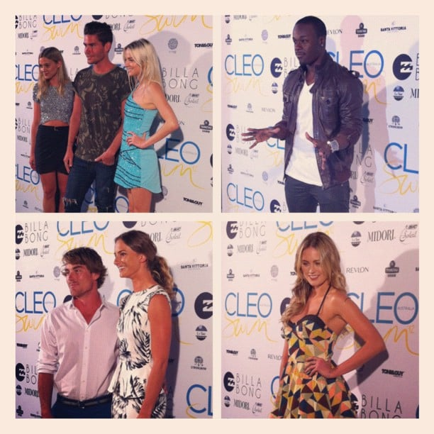 Jess snapped guests at the CLEO Swim Party. Clockwise from top left: Nathan Jolliffe, new girlfriend Abbey Ginns and a friend; Timomatic; Jesinta Campbell; Hayden Quinn and girlfriend Kayla Greenville.