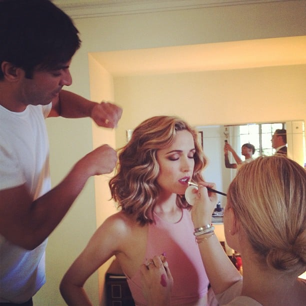 Rose Byrne, sporting some seriously lighter locks, got a touch-up from celebrity stylist Harry Josh before the show. Source: Instagram user instylemagazine