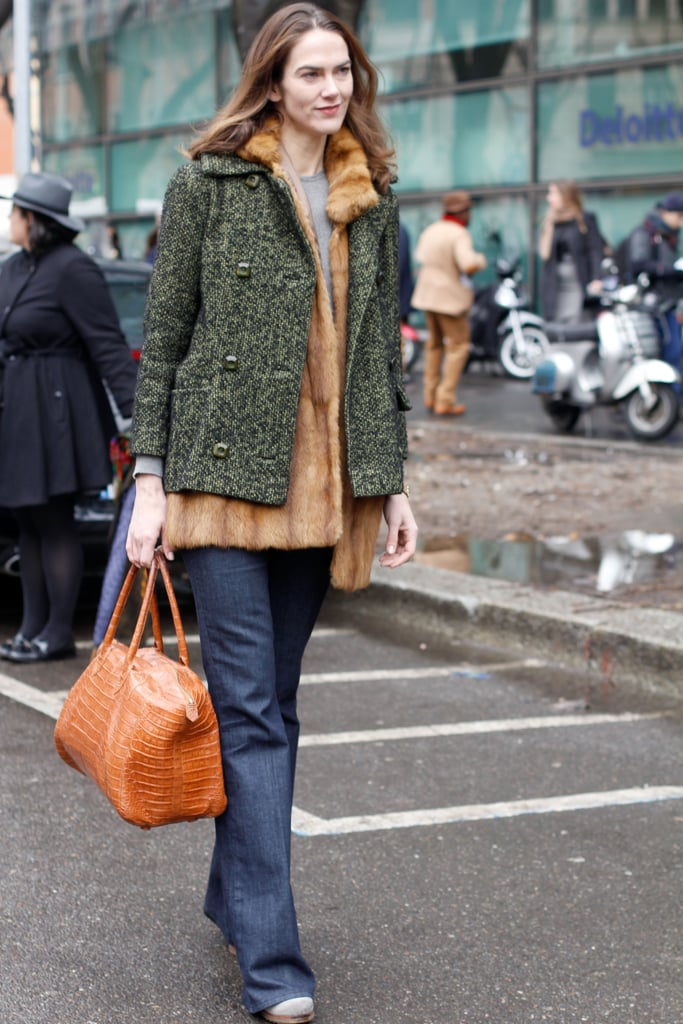 J.J. Martin layered up in tweed and fur.