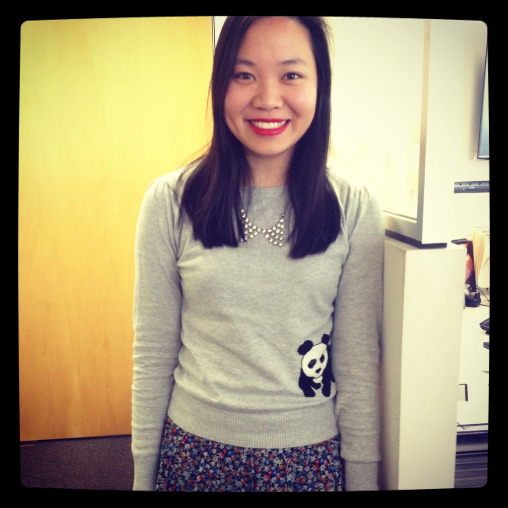 PopSugar editor Jess wears a too-cute A Wear from ASOS jumper with a Glassons skirt and ASOS necklace.