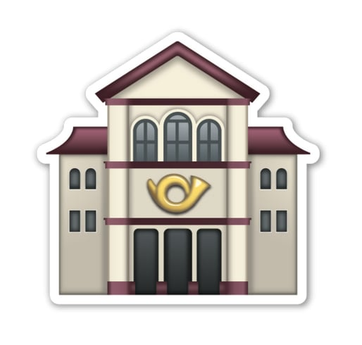 """Interpretation: """"Music hall."""" Name + meaning: European Post Office. A European-style post office. In the Apple artwork, a Postal Horn can be seen on the front. Also known as: Post office emoji"""