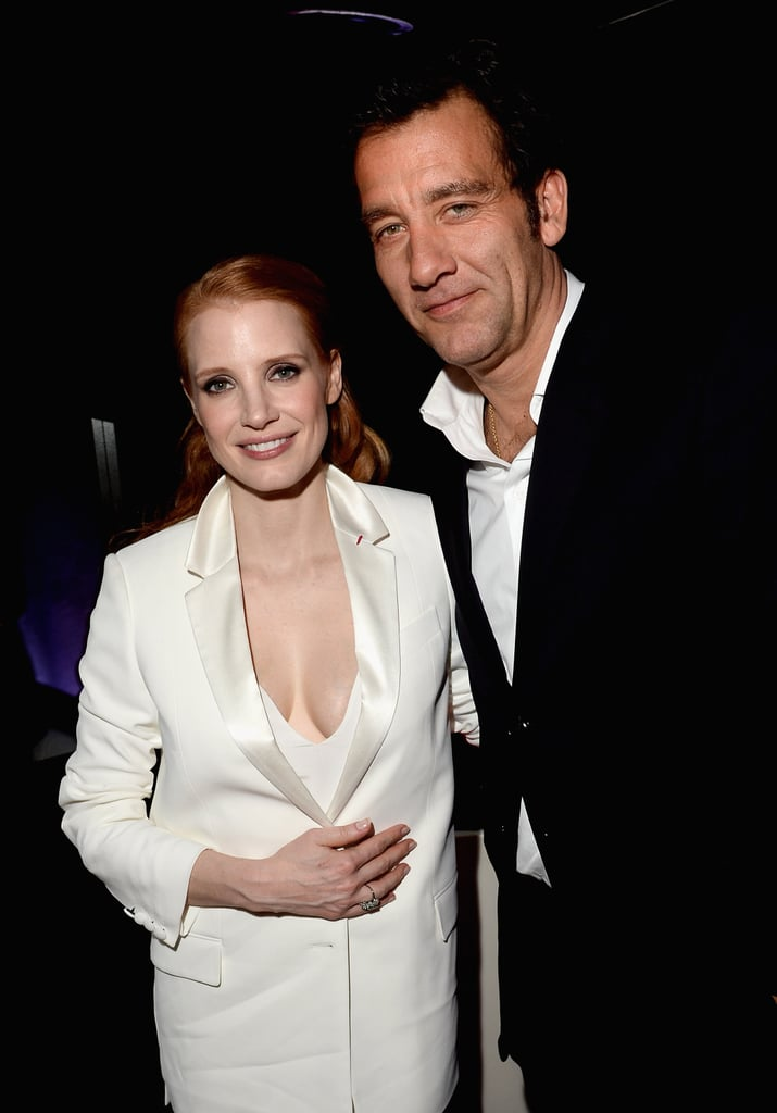 Jessica Chastain posed with Clive Owen at Bulgari's Cleopatra cocktail party on Tuesday night.
