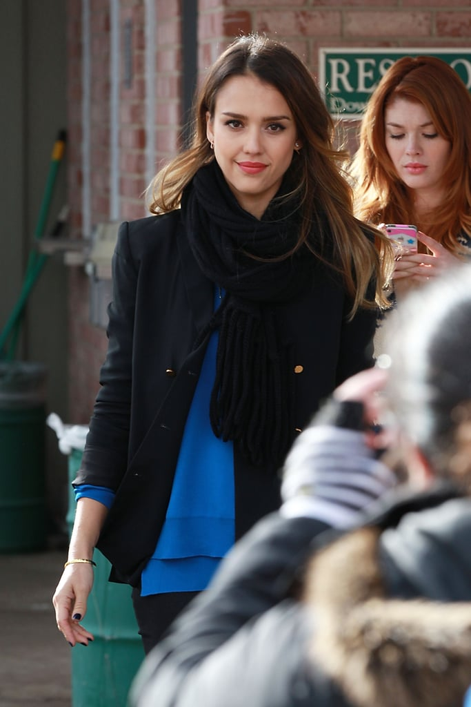 Jessica Alba wore a blue top while walking around the Sundance Film Festival.
