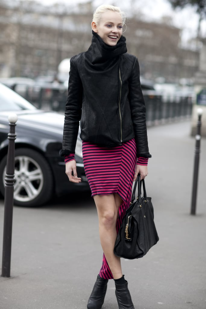 We love the play on sporty style with pink and black stripes and a 'laxed moto jacket.