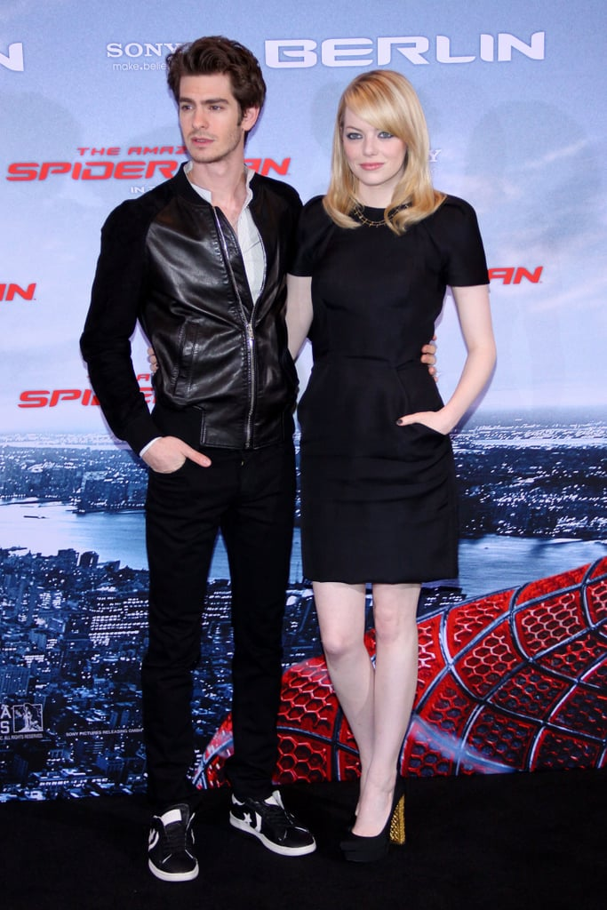 Andrew Garfield wore a black leather jacket and Emma Stone a black dress for the Berlin photocall for The Amazing Spider-Man.