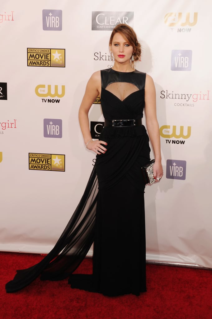 Leather, cut-outs, and sheer trains — it doesn't get much sexier than than the Prabal Gurung gown Jennifer Lawrence wore to the Critics Choice Awards this year.